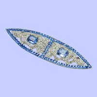 Large ART DECO Sapphire Blue and Clear Rhinestone Brooch Pin