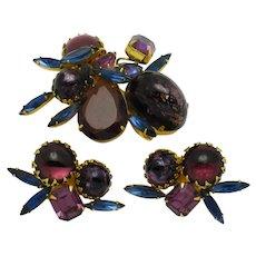 Vintage HATTIE CARNEGIE Set Brooch Earring Cabochon Rhinestone Mint