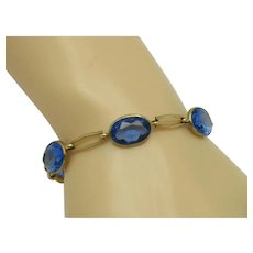 Signed SIMMONS Art Deco Blue Faceted Crystal Gold Plated Link Bracelet