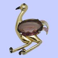 CORO Vintage 1940s  Amethyst Crystal Figural Ostrich Bird Brooch Pin