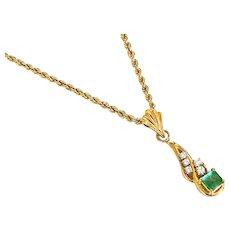 "Vintage 14k Yellow Gold Emerald & Diamond Pendant & 16"" 14k Gold Chain"