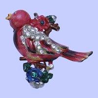 Vintage CORO Rhinestone Enamel Bird on Branch Clip Pin