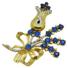 Large Vintage 1940s Gold Plated Rhinestone Tulip and Bow Brooch Pin
