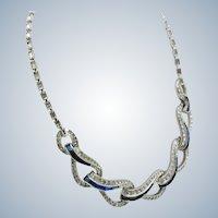 Vintage Boucher Crossover Sapphire Rhinestone Necklace