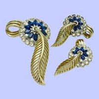 JOMAZ  Brooch Earring Floral SET Blue Rhinestone  Open Work