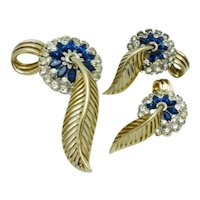 JOMAZ  Brooch Earring Floral SET Blue Rhinestone  Open Work