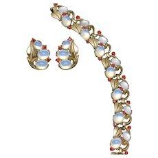 CROWN TRIFARI  Moonstone Rhinestone Bracelet and Earring Set