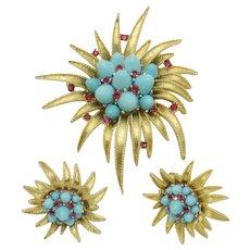 BOUCHER Brooch Earring Set  Turquoise Bullet Cabs Rhinestones