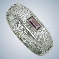 Art Deco  FMCO Finberg Manufacturing  Filigree Amethyst Glass Hinged Bracelet