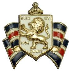 ACCESSOCRAFT Patriotic  WWII British War Relief Raging Lion Brooch Pin