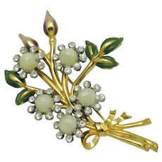 Floral  Bullet Cabs Rhinestones Enamel Gold Plated Pin Brooch