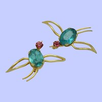 CORO PEGASUS Glass Belly Wire Works  Birds Pins Brooch