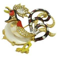 Vintage TRIFARI Pat Pend Brooch 'Fairyland'  Rooster Jelly Belly Enamel Pin