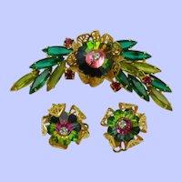 Authentic JULIANA Watermelon  Margarita Rivoli Brooch Earrings SET