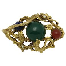 SWOBODA Genuine Gemstone Dragon Brooch Carnelian, Lapis, Chrysoprase Rare