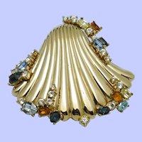 Vintage Rare Gold Plated Rhinestone CINER Seashell Brooch Pin