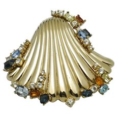 Vintage Rare Gold Plated Rhinestone CINER Seashell Brooch Pin