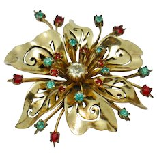 CORO PEGASUS Sterling Vermeil Rhinestone Flower Brooch Pin Rare