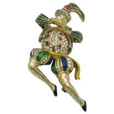 RARE Vintage CINER Jester Figural Brooch Pin Violin Man
