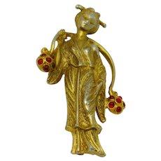 Rare Vintage HATTIE CARNEGIE Figural Oriental Asian Woman