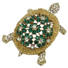 Vintage CINER Gold Plated Rhinestone Figural Turtle Brooch Pin