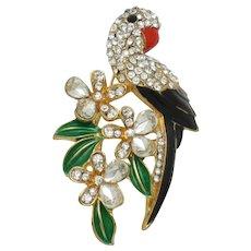 Vintagel Figural Parrot Bird on a Branch Brooch Pin