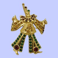 Rare ORA Gold Plated Rhinestone Clown Figural Brooch Pin