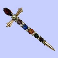 STERLING by CORO Coro Sterling Rhinestone Sword Brooch Pin