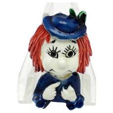 Adorable HAR Hargo Little People Figural Enamel Woman Brooch Pin