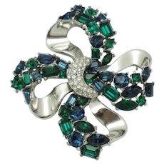 CROWN TRIFARI  Jeweled Symphony Rhinestone Bow Knot Brooch 1956
