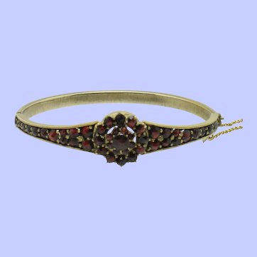 Antique Victorian Bohemian Garnet Gold Wash Bracelet