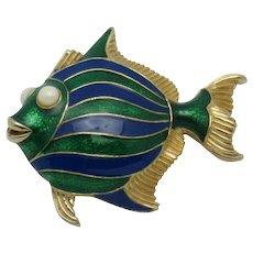 CINER Blue Green Enamel Figural Fish Pin Brooch