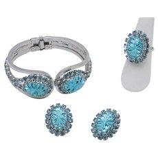 Gorgeous Teal Vintage 3 Pc Set Bracelet, Earrings, Ring Juliana Style