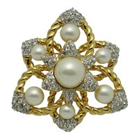 Stunning CINER Dimensional Rhinestone Pearl Brooch and Pendant