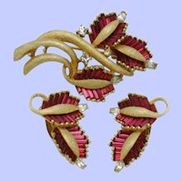 Signed  PENNINO Invisibly Set Baguette Brooch and Earring SET