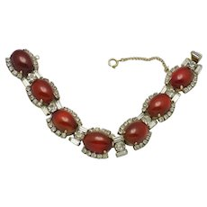 Vintage HATTIE CARNEGIE Red Cabochon and Rhinestone Link Bracelet