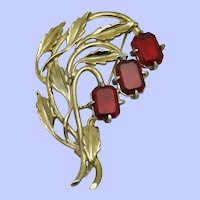 Signed LITTLE NEMO 1940s Red Crystal Floral Brooch Pin