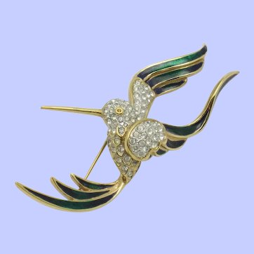 ATTWOOD and SAWYER  England Jeweled Hummingbird Brooch Pin