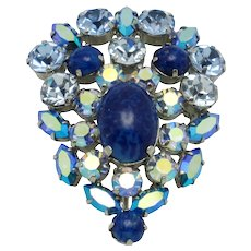 Shades of Blue Vintage Signed AUSTRIA Brooch and Pendant