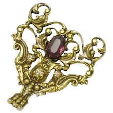 ACCESSOCRAFT NYC Ornate Gold Plated Amethyst Pendant
