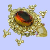 DeLizza & Elster JULIANA Watermelon Rhinestone Figural Turtle Brooch