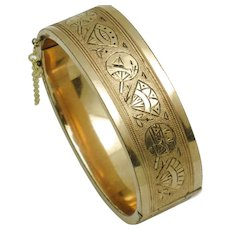 Antique Victorian WIDE Gold Filled Etched Tracery Hinged Bangle Bracelet