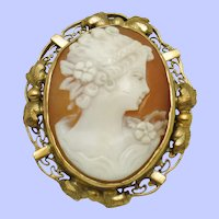 Art Deco 12K 1/20 GF  Shell Cameo Brooch and Pendant