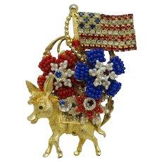 STANLEY HAGLER Democratic Donkey Political Patriotic Flag Brooch