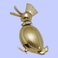 Vintage Gold Plated Rhinestone Figural Duck Brooch
