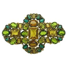 Reserved ROBERT Amber Peridot Crystal Gold Plated Filigree Brooch