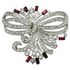 Art Deco Diamante Rhodium Plate Ribbon Bow Brooch