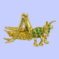 DeNICOLA Green Glass Cabochon Figural Grasshopper Brooch Pin