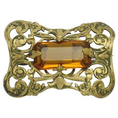 Antique Victorian Brass Citrine Glass Brooch  Clasp