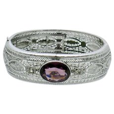 Wide  ART DECO 1920s Chromium Filigree Amethyst Bracelet